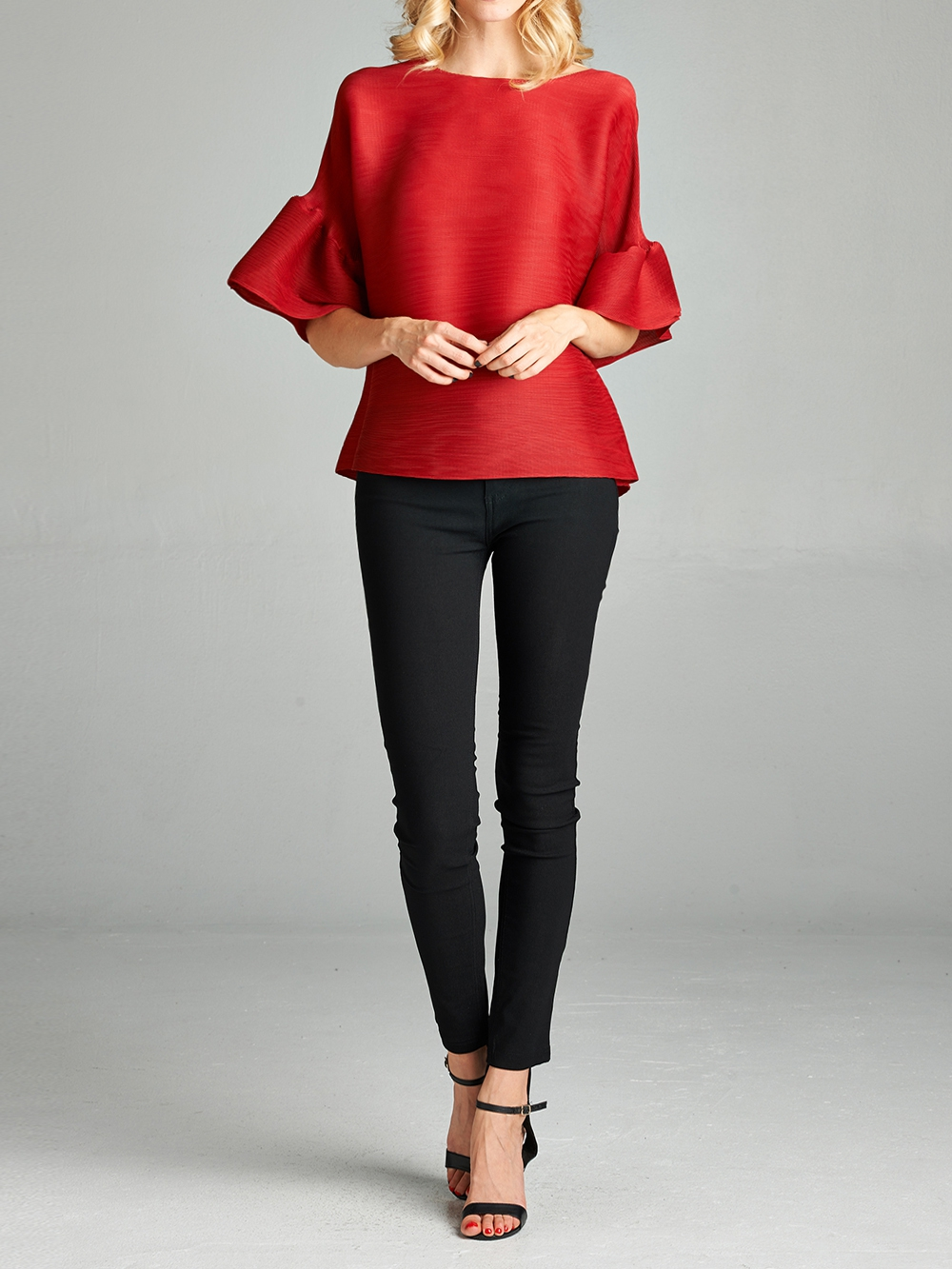 Pleated Red Audrey  Top - orangeshine.com