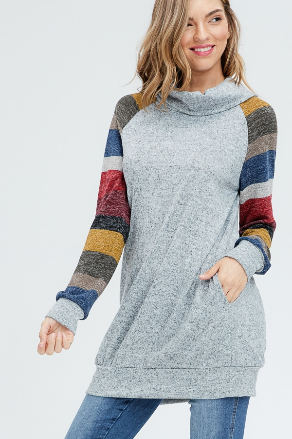 Cowl Neck Striped Sleeve Sweater - orangeshine.com
