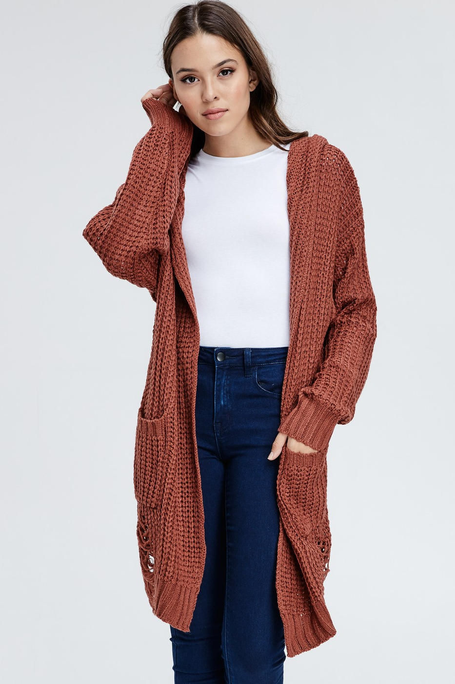 Plus Hooded Distress Cardigan - orangeshine.com