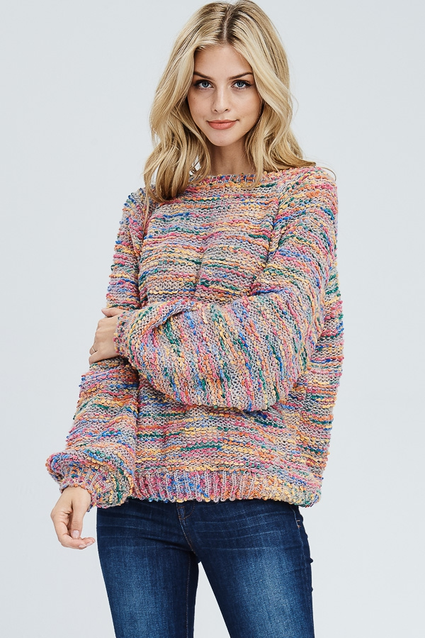 Multi Colored Puff Sleeve Sweater - orangeshine.com