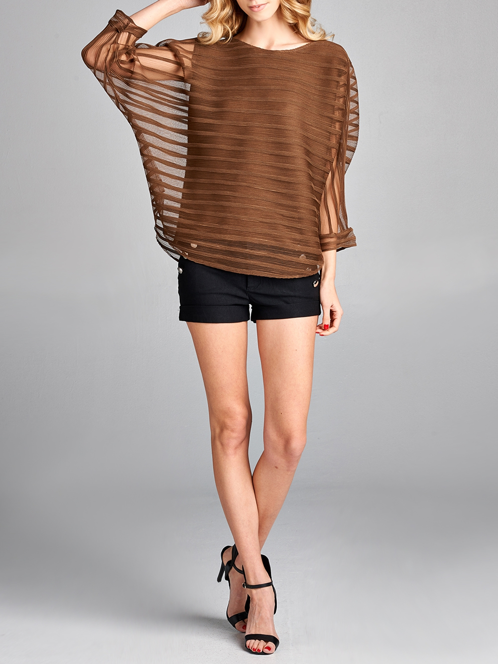 Pleated Brown Kesi  Layered Top - orangeshine.com