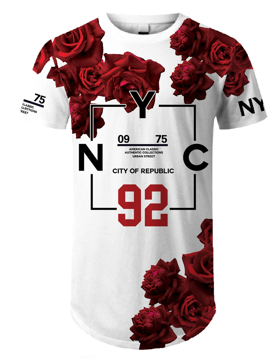 NYC 92 Red Rose Printed Longllne Tee - orangeshine.com