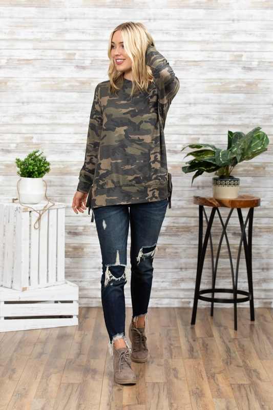 CAMO TERRY SIDES TIES TUNIC - orangeshine.com