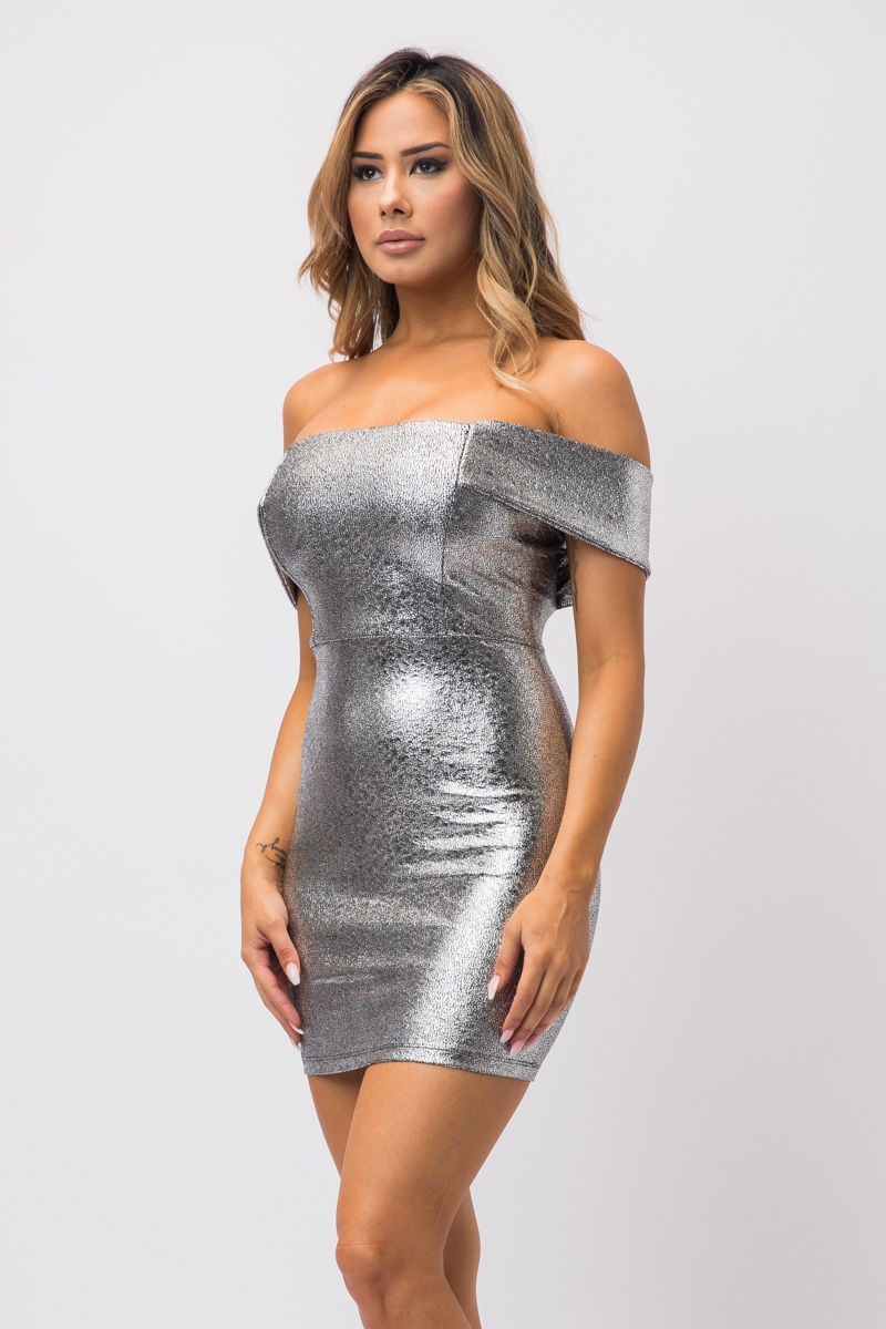 FOIL JACQUARD OFF SHOULDER DRESS - orangeshine.com