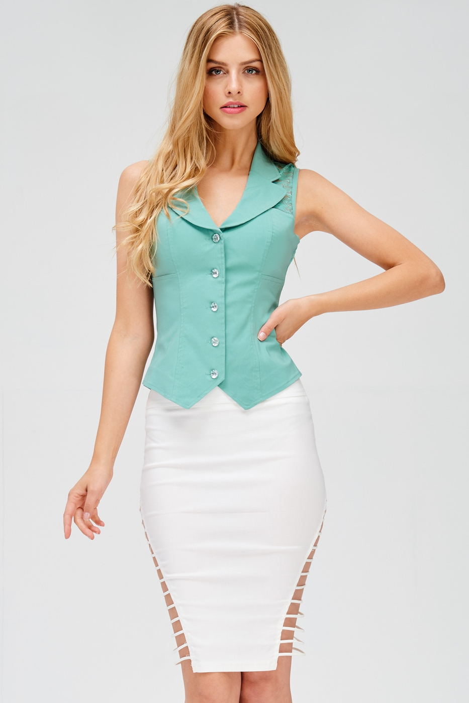 SHOULDER LACE BUTTON VEST - orangeshine.com