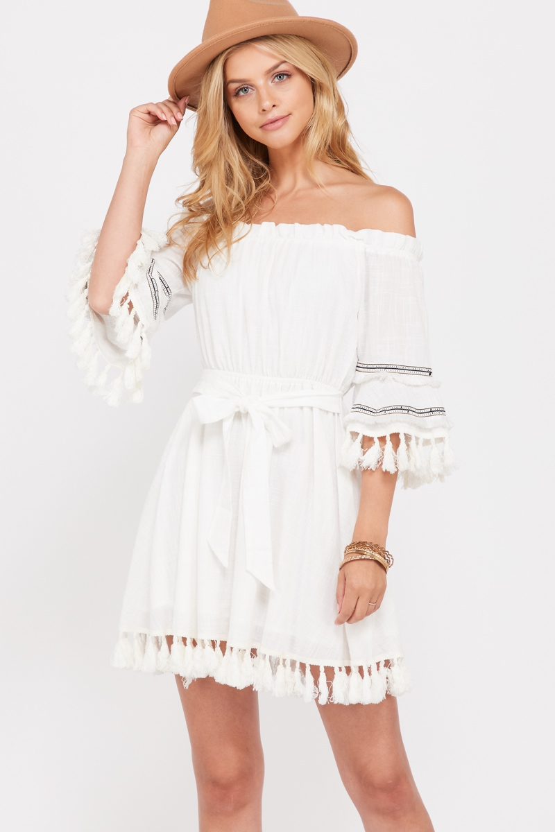 Offshoulder Fringe Trim Dress  - orangeshine.com