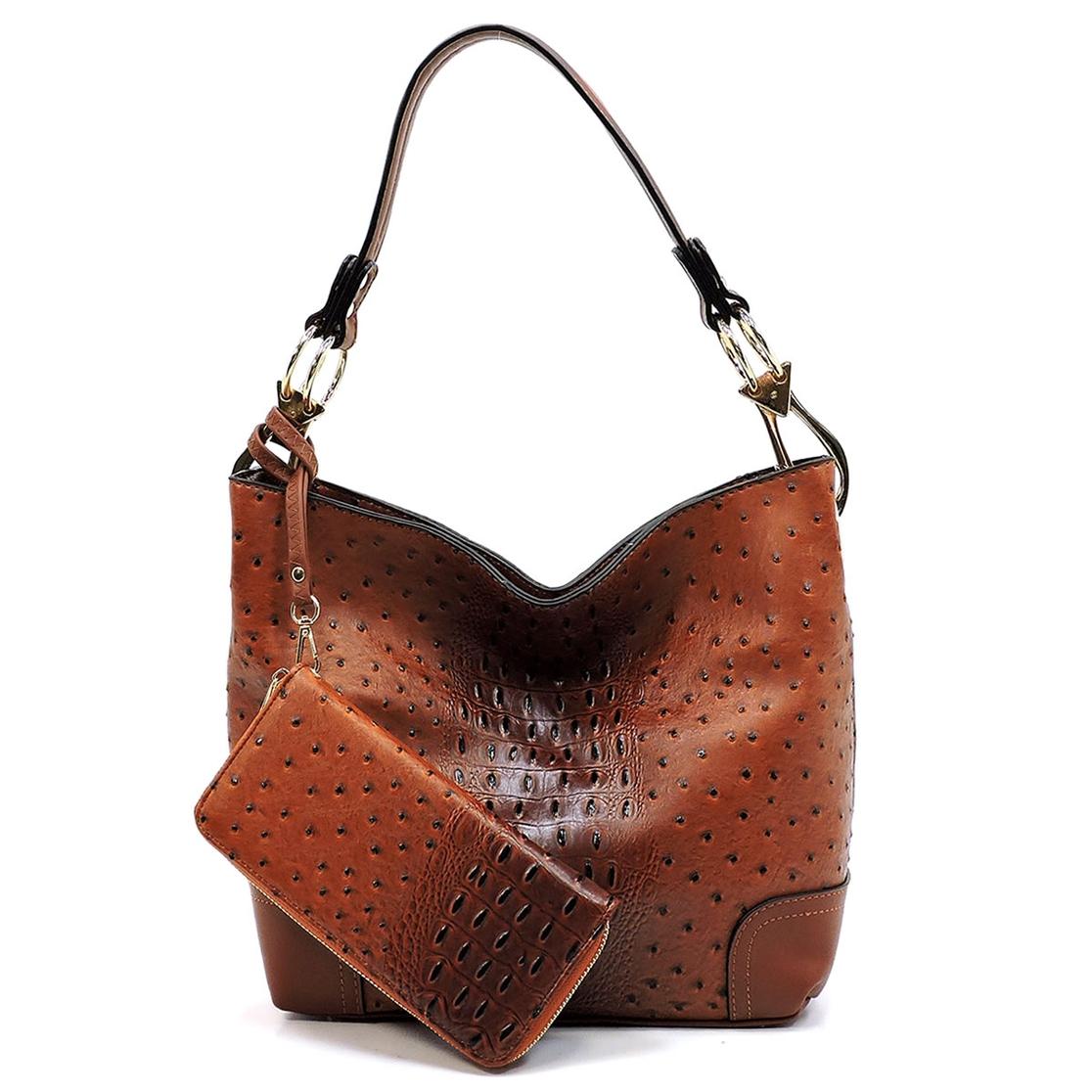 f5cc7dda94 FASHION BRIDGE Wholesale Ostrich Croc 2-In-1 Bucket Bag ...