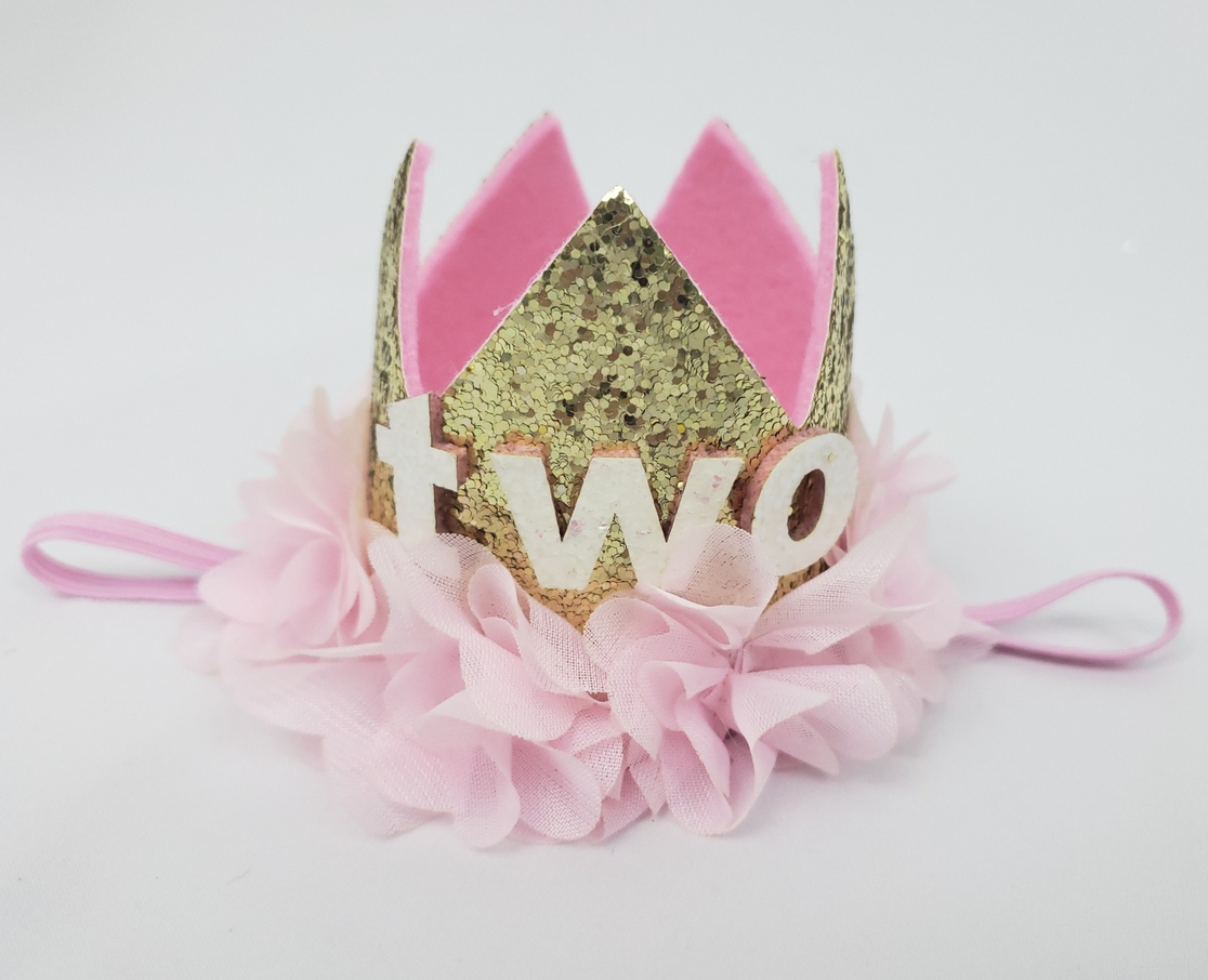 Two Birthday Crown Headband - gold - orangeshine.com
