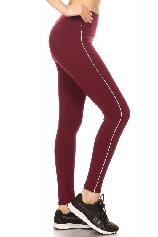 Piping Thick Fleece Sports leggings - orangeshine.com