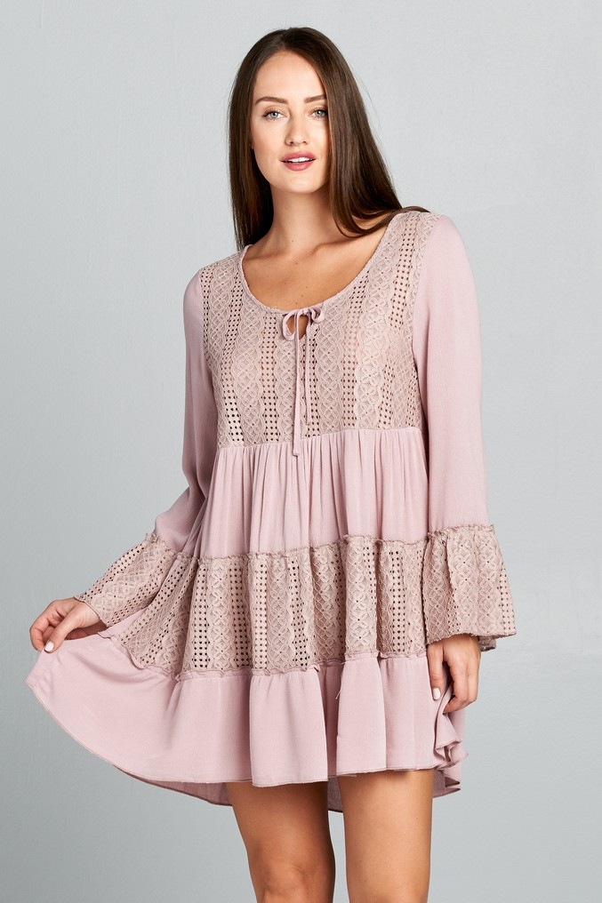 Bell Sleeve Lace Trim Dress - orangeshine.com