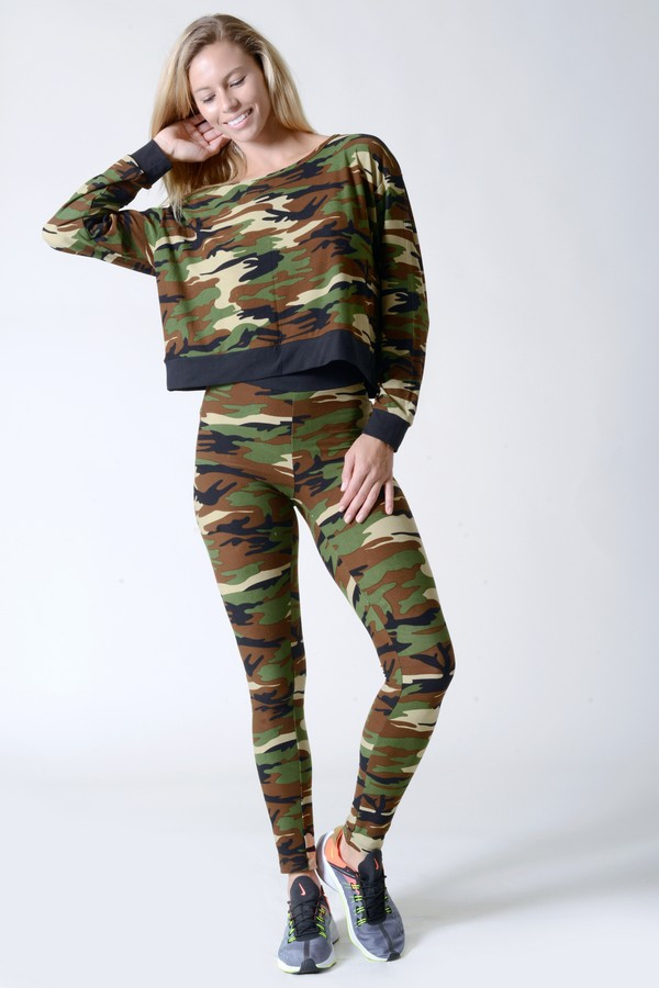 Camouflage Pullover Top And Leggings - orangeshine.com