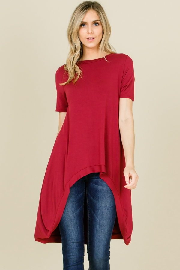 Plus Round Neck Hi Lo Loose Fit Top - orangeshine.com