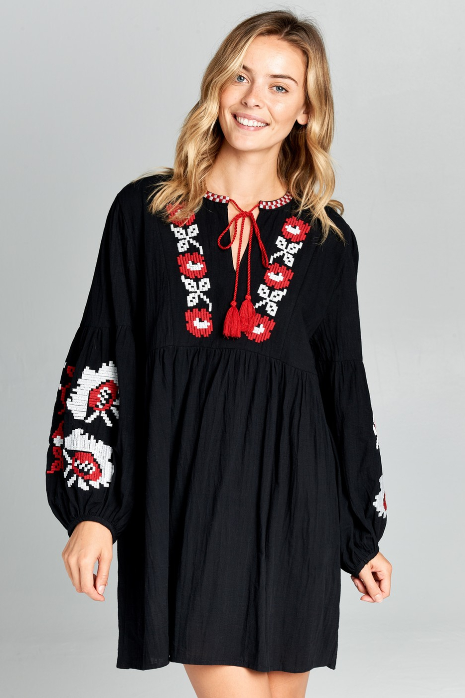Plus Puff Sleeve Embroidered Dress - orangeshine.com