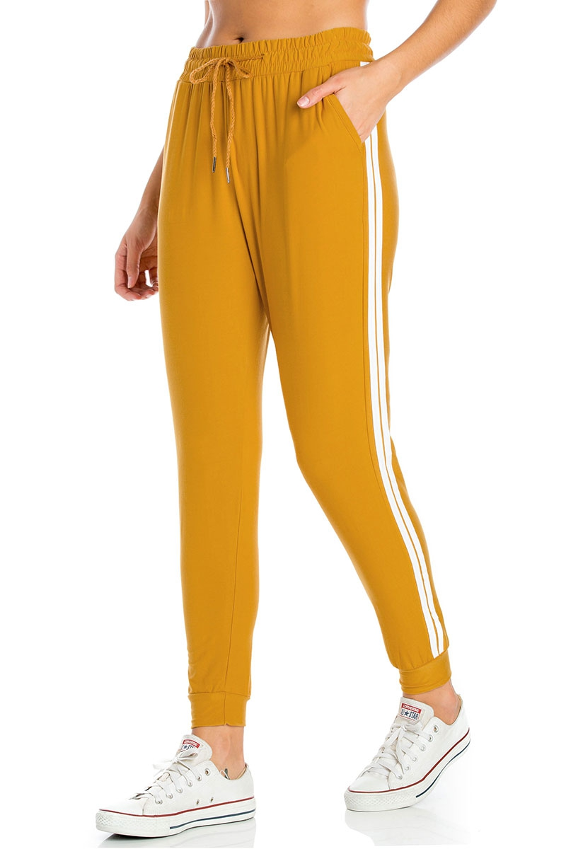 Striped Jogger Pants with Pockets - orangeshine.com