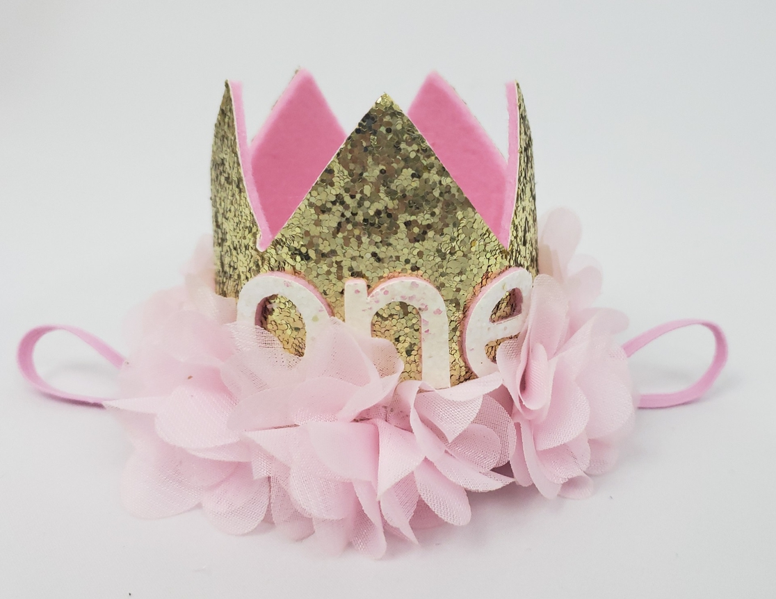 One Birthday Crown Headband-gold - orangeshine.com