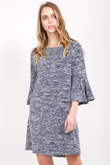 BELL SLEEVE MIXED COLOR KNIT DRESS - orangeshine.com