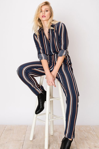 BUTTON DOWN STRIPE JUMPSUIT - orangeshine.com