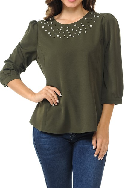 Pearl beading three-quarter sleeve  - orangeshine.com