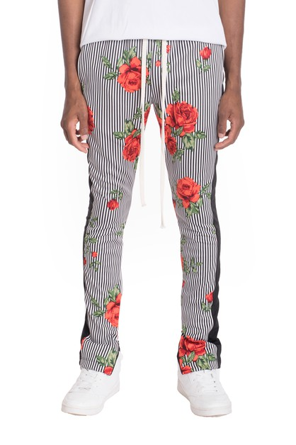 Flower Stripes Track Pants - orangeshine.com