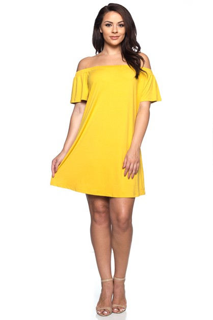 Plus Size Off Shoulder Dress - orangeshine.com