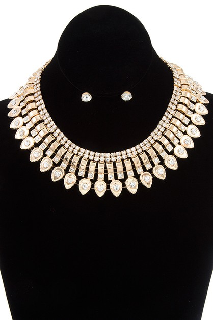 RHINESTONE PAVE MIX CHAIN COLLAR NEC - orangeshine.com