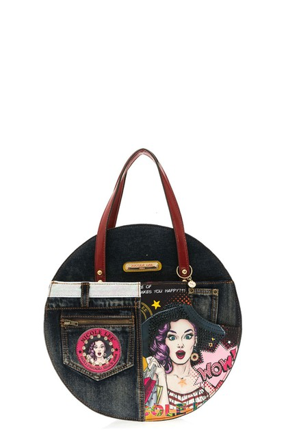 DENIM POP ART CIRCLE BAG - orangeshine.com