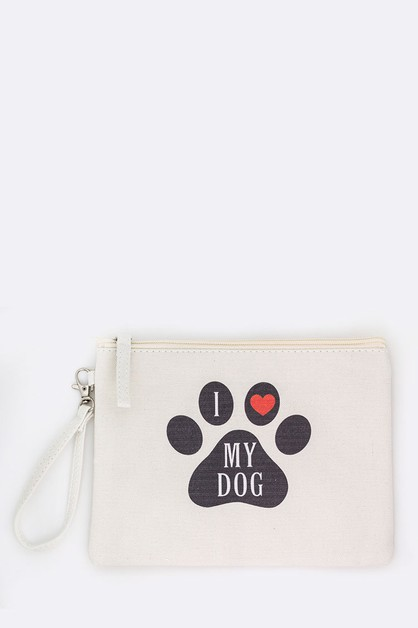 I Heart My Dog Paw Print Pouch - orangeshine.com