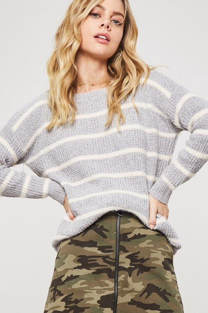 STRIPE PRINT FUZZY KNIT SWEATER - orangeshine.com