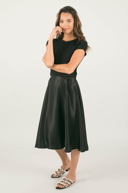 Black Silky Midi Skirt - orangeshine.com