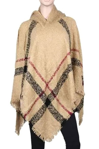 Plaid Pattern Poncho with Hood - orangeshine.com