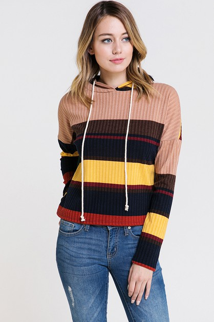 MULTI COLOR STRIPED HOODIE TOP - orangeshine.com