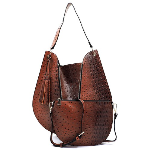 Ostrich Croc Zipper 2-in-1  Hobo - orangeshine.com