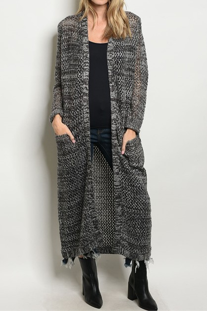 NOVELTY 2TONE KNIT MAXI CARDIGAN  - orangeshine.com