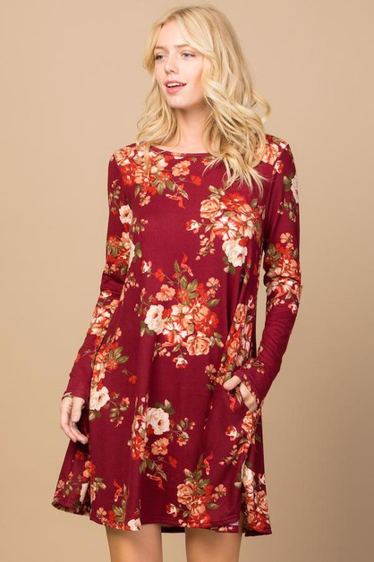 Floral Long Sleeves Flare Dress - orangeshine.com
