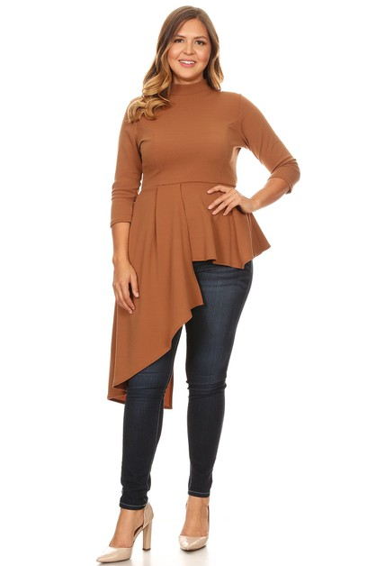 DRAPED ASYMMETRICAL HEM TOP - orangeshine.com