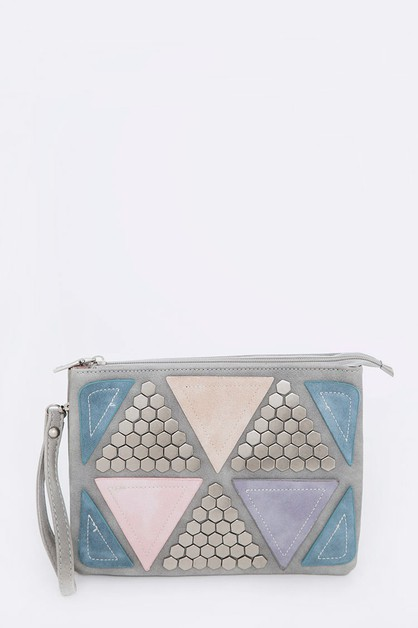 Mix Media Studded Patched Handbag - orangeshine.com