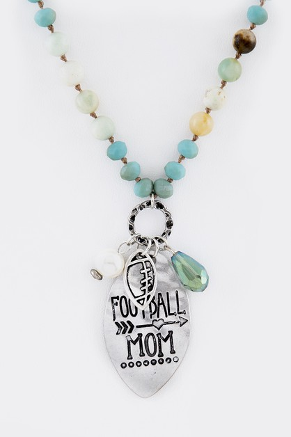 Football Mom Mix Beads Necklace - orangeshine.com