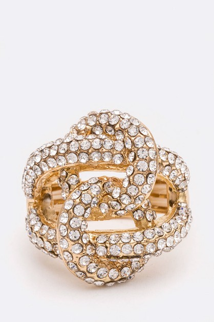 Crystal Knotted Iconic Stretch Ring - orangeshine.com
