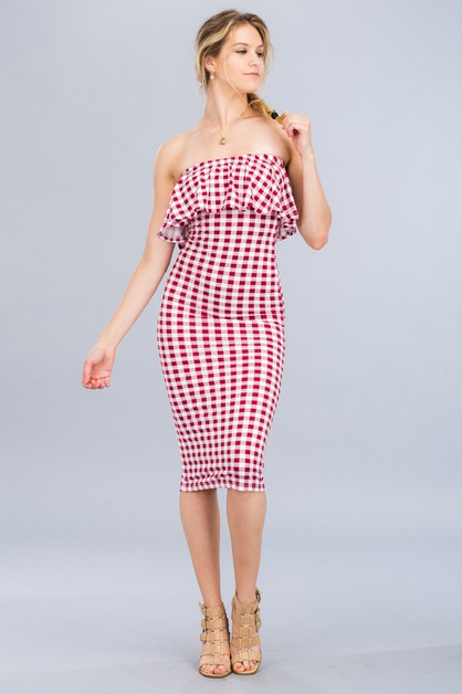 Gingham Ruffle Tube Dress - orangeshine.com