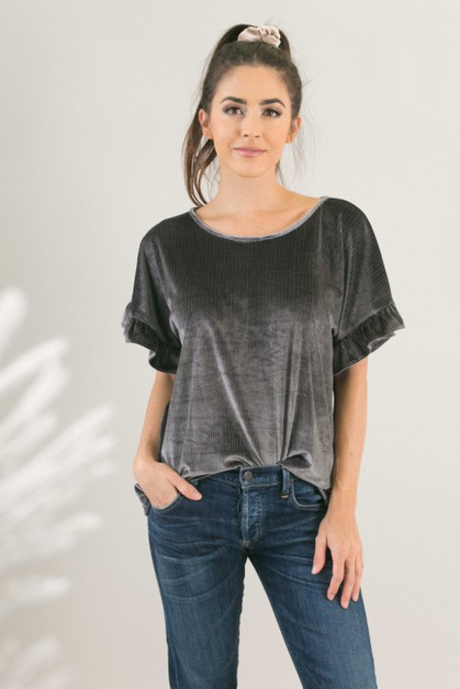 Grey Velvet Stripe Ruffle Sleeve Top - orangeshine.com