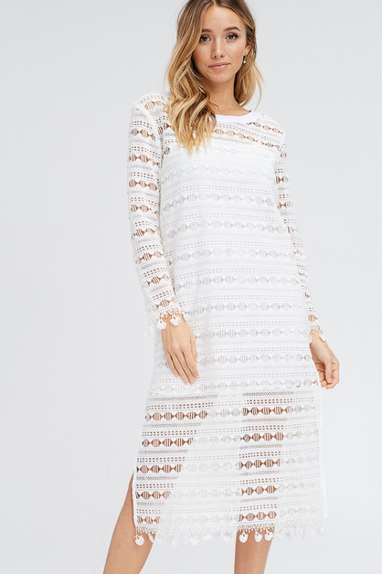 Tassel Hem Long Sleeve Lace dress - orangeshine.com