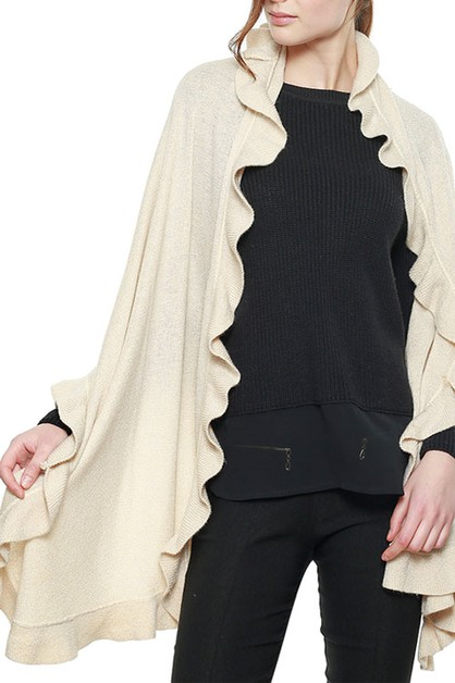 RUFFLE EDGED METALLIC SHAWL CAPE - orangeshine.com