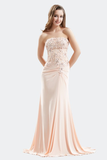 A Line Strapless Dress Solid Evening - orangeshine.com