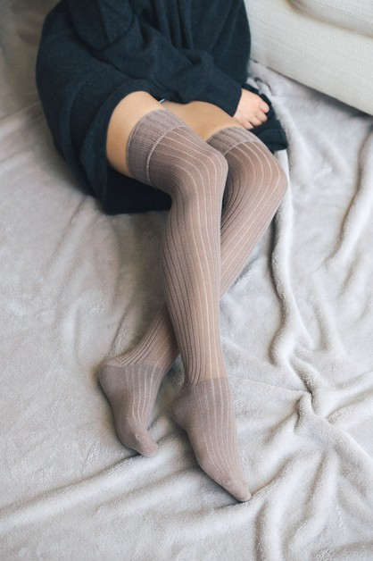 Classic Ribbed Thigh High Socks - orangeshine.com