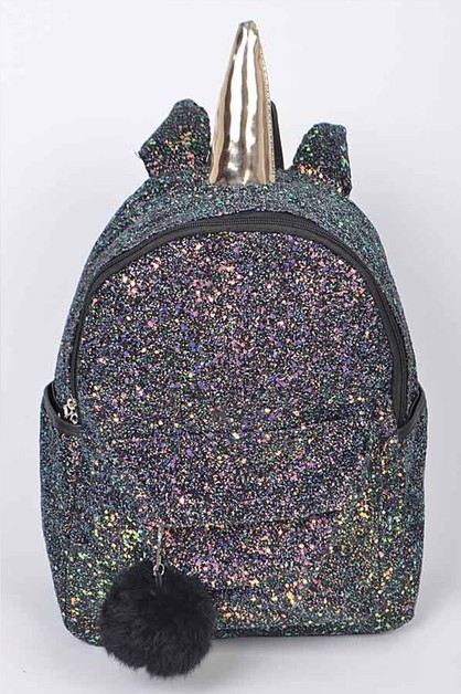 Black Glitter Iconic Backpack - orangeshine.com