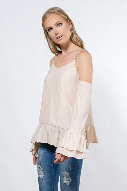 Silky cold shoulder blouse - orangeshine.com