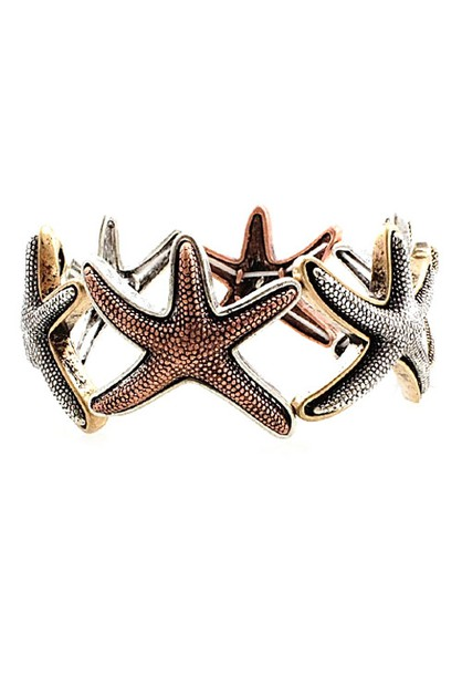 Mix Metal Stretch Bracelets Starfish - orangeshine.com