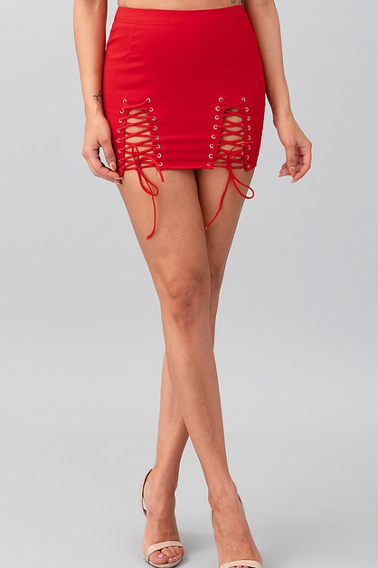 DOUBLE SIDE LACE UP SKIRT - orangeshine.com