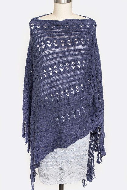 Loose Knit Fringe Fashion Poncho - orangeshine.com