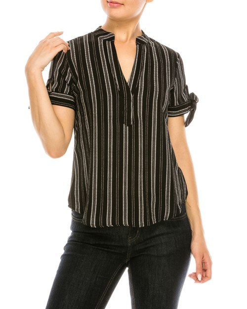 Striped V-Neck Top - orangeshine.com